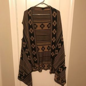 Brown and black long sweater vest